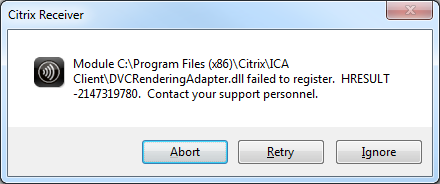 Citrix Receiver DVCRenderingAdapter failed to register, Image Credit Christopher Cable from Citrix Discussion Forum